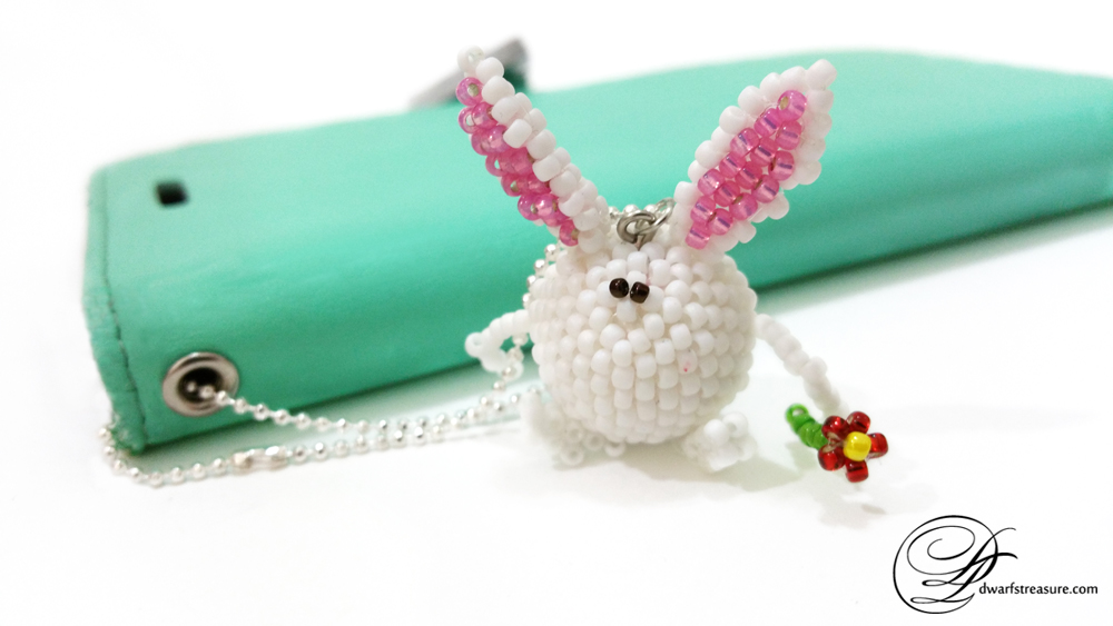 kawaii white beaded bunny collectible figurine