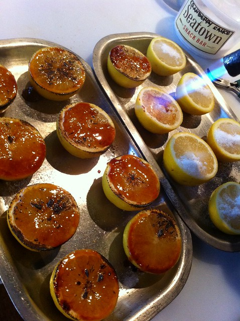 """Linecook Jim making """"Sweet Lemons"""" as a caramelized sweetness for our oysters!"""