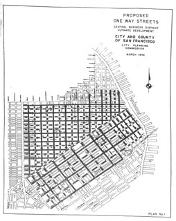 Proposed One-Way Streets, Central Business District Ultimate Development (1942)