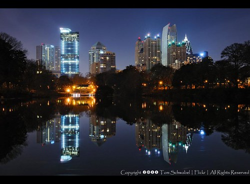 city atlanta lake reflection skyline night skyscraper georgia downtown midtown piedmontpark tomschwabel