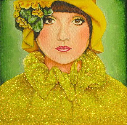 yellow glitter girl painting