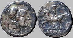 RRC 098/A2 Luceria LT Half Victoriatus. Italic civic mint. Minerva / L; Horseman left / T / ROMA. Paris d'Ailly 3408 bis, 1g29