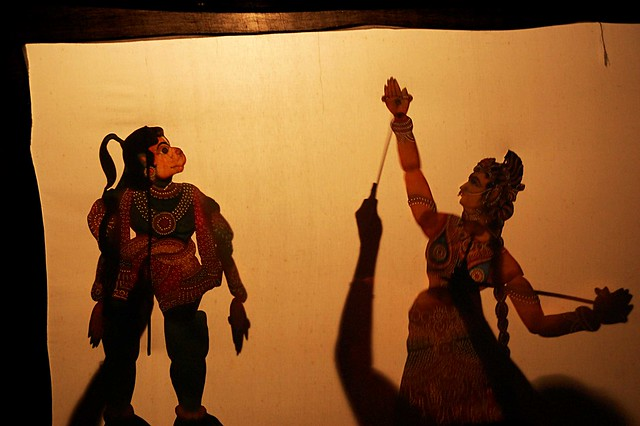indian shadow puppets Many famous greek and foreign scholars who were investigating about the roots of shadow theatre found its origins in india: the plays of the most known shadow theatres of the word today also means figures made from worked leather and generally a dramatic performance in which the actors are puppets or people.