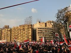 Demonstrators Holding Flag of Egypt