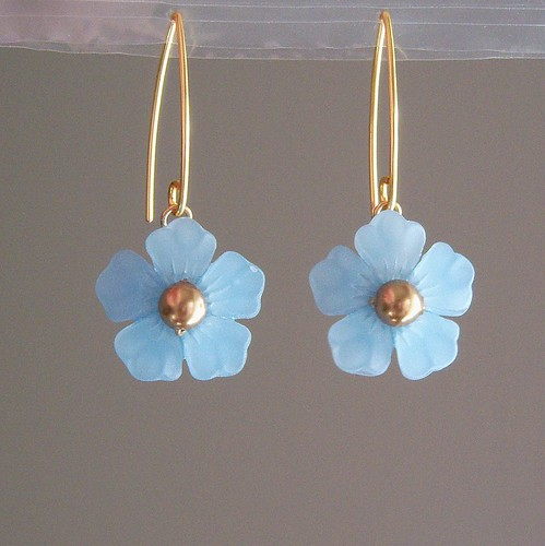 Blue Flower V-Hook Earrings