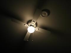 incandescent light bulb(0.0), macro photography(0.0), symmetry(1.0), light fixture(1.0), light(1.0), ceiling fan(1.0), ceiling(1.0), mechanical fan(1.0), circle(1.0), darkness(1.0), lighting(1.0),