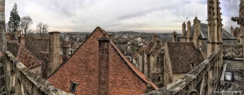city panorama distortion ancient view d spires burgundy côte medieval burgundian notre dame bourgogne hdr gargoles semurenauxios