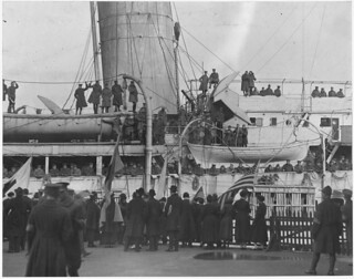 Famous [African American] regiment arrives home on the France.