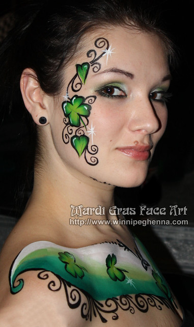 shamrock body paint tattoo. MARDI GRAS FACE ART! (204) 955-2762