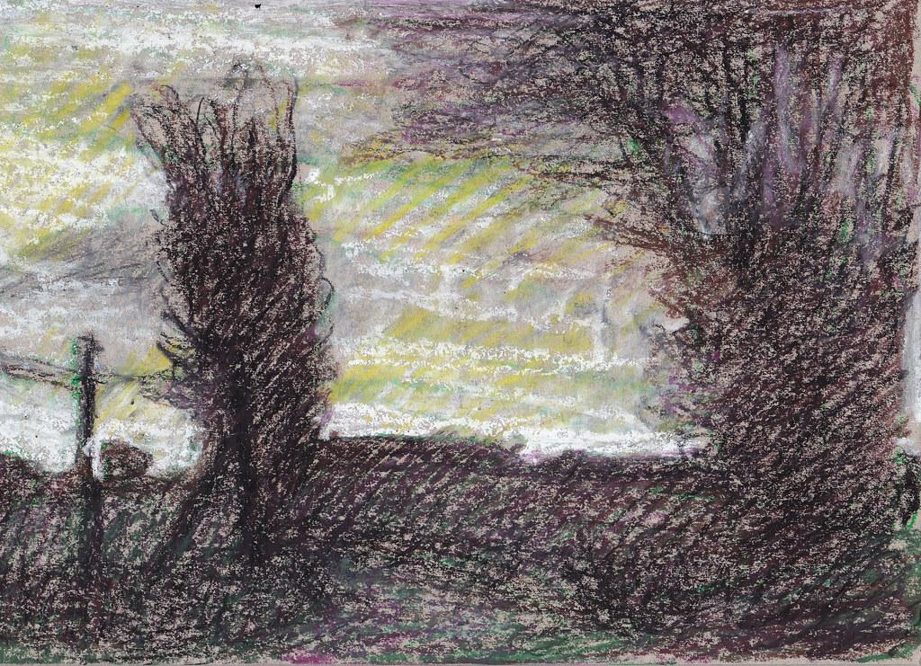 Nightfall, near Ipsden | oil pastel on card  Drawn as the sk