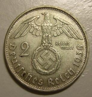 GERMAN REICH, 1938 ---2 REICHSMARKS b