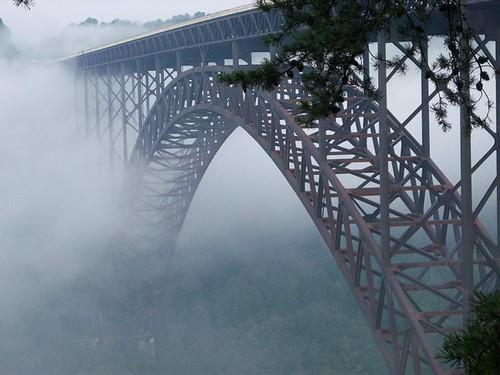 New River Gorge Bridge in Fog