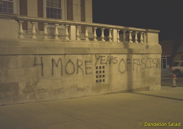 "Graffiti ""4 More Years of Fascism"""