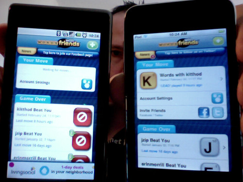 Android (left) & iOS (right) Words With Friends
