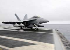 PACIFIC OCEAN (March 2, 2011) An F/A-18F Super Hornet assigned to the Argonauts of Strike Fighter Squadron (VFA) 147 launches off the deck of the aircraft carrier USS Ronald Reagan (CVN 76) during flight operations.  Ronald Reagan is currently conducting training in preparation for a deployment to the Western Pacific and Central Command area of responsibility. (U.S. Navy photo by Mass Communication Specialist 2nd Class Josh Cassatt)