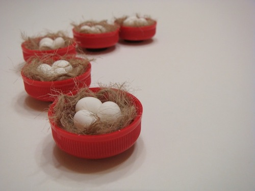 non-recyclable plastic bottle caps turned birds nest magnets