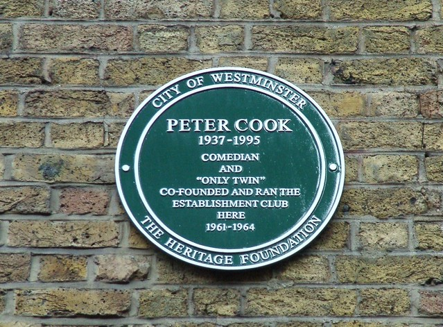 Photo of Peter Cook green plaque
