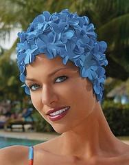 Шапочка для плавания женская резиновая с цветами FASHY PETAL CAP FLOWERS 3191.