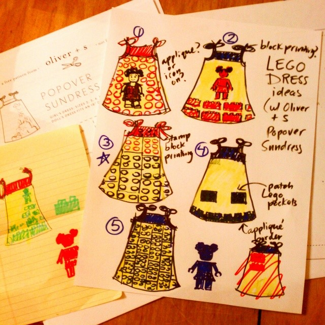Quick Lego birthday dress sketch ideas, not really there yet but I like #3 the best so far. Using @oliverands Popover Sundress for the base since it's so simple and clean and will do block printing and/or appliqué.