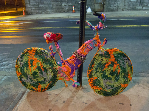 Crocheted Bike by Olek Under The Brooklyn Bridge