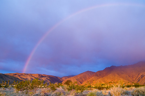 Rainbow at sunrise in the desert