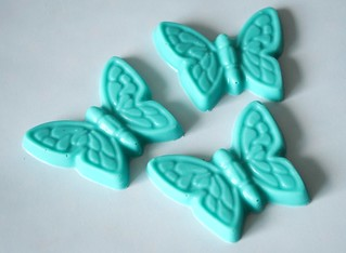 Hand-made blue butterfly chocolates