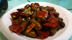 produce(0.0), caponata(0.0), ratatouille(0.0), vegetable(1.0), kung pao chicken(1.0), meat(1.0), food(1.0), dish(1.0), cuisine(1.0),