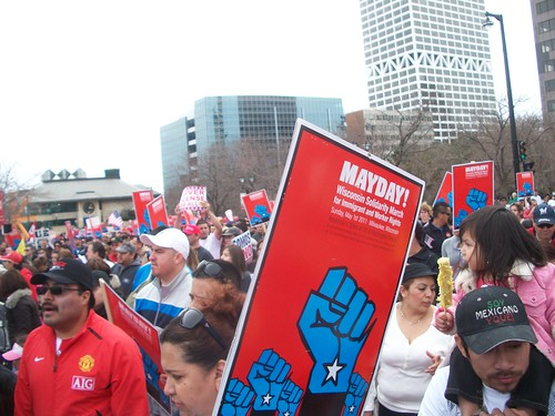 May Day 2011 in Milwaukee enjoyed the participation of over 100,000 workers, youth and community people who marched through the downtown area to the lake front. Wisconsin has been a focal point for the economic crisis. (Photo: Abayomi Azikiwe) by Pan-African News Wire File Photos