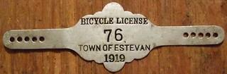 ESTEVAN, SASKATCHEWAN 1919 ---BICYCLE LICENSE
