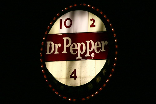 Roanoke's Vintage Dr. Pepper sign at night
