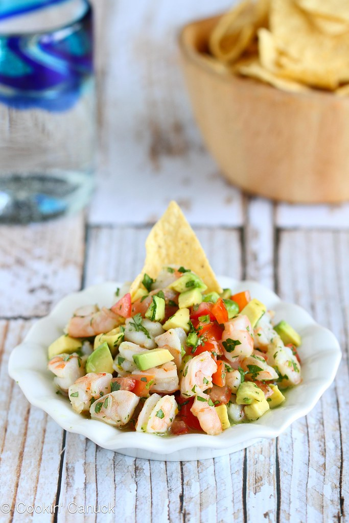 Tequila-Spiked Shrimp Ceviche Recipe with Avocado | cookincanuck.com #CincodeMayo #shrimp #avocado