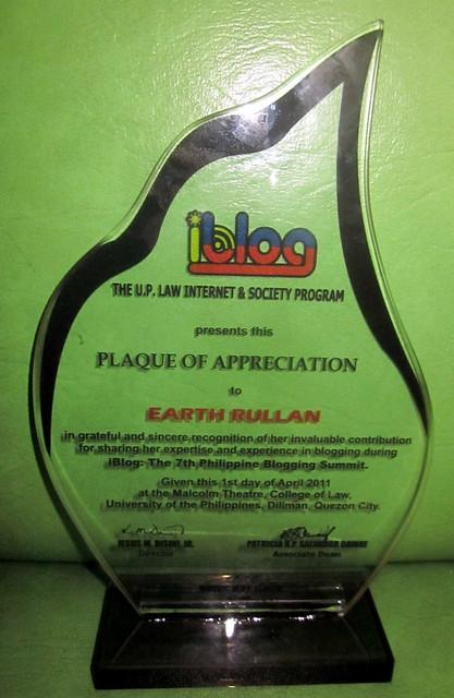 iBlog7 Plaque of Appreciation