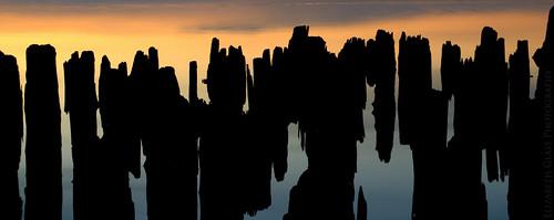 sunset reflection silhouette spring nikon pilings boynecity lakecharlevoix d60