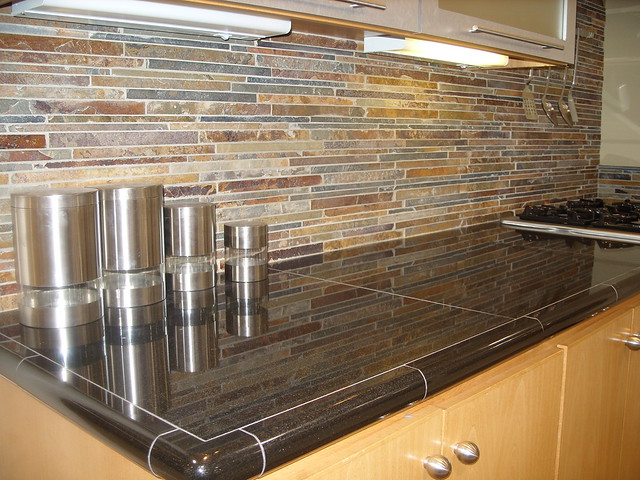 slate backsplash stacked tile flickr photo sharing