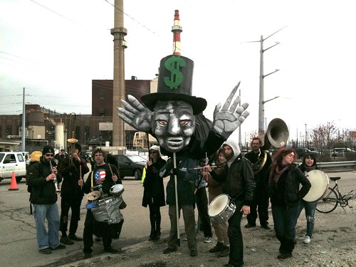 Solidarity Musical and Theatrical Action outside of the Chicago Coal Plant Bannering and Occupation Action