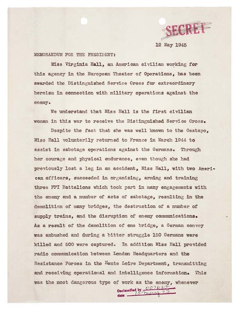 Memorandum for the President from William J. Donovan Regarding Distinguished Service Cross (DSC) Award to Virginia Hall, 05/12/1945