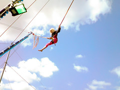 adventure(0.0), bungee jumping(0.0), freestyle skiing(0.0), sports(0.0), pole vault(0.0), mast(0.0), extreme sport(0.0), abseiling(0.0), physical exercise(0.0), bungee cord(1.0), recreation(1.0), outdoor recreation(1.0), performance(1.0), person(1.0), sky(1.0),