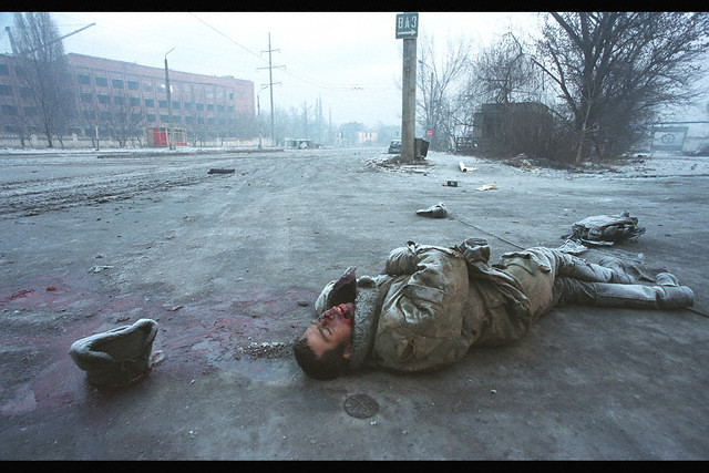 Grozny, Chechnya, 1995, Russian army offensive on the Chechen capital city of Grozny. The city is circled by the Russian army and hit by artillery shots and bombings, by Patrick Chauvel