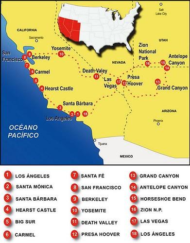 Mapa de Ruta: Costa Oeste EEUU