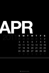 April Lock Screen Calendar Wallpaper Black [iOS 4 Retina Display]