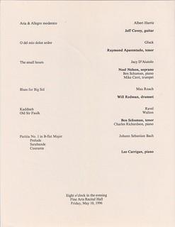 5/10/1996 UMBC Honors Recital program, page 2