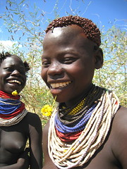 Happy Karo Tribe Girls , Ethiopia