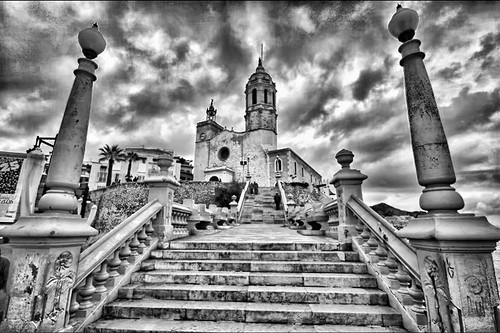 Steps from beach to church at Sitges, Spain