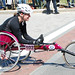 As wheelchairs turned into Kenmore Square, the cheers of spectators causes more than a few smiles. Photo by Nicole Cousins. BU News Service.