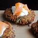 goat cheese, asparagus, and quinoa patties with lemon yogurt and smoked salmon