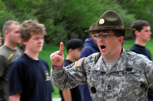 Drill sergeant with new recruits