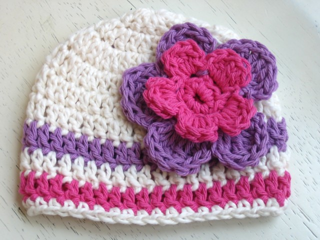 Free Crochet Flower Patterns For Baby Hats : Beanie Baby Hat With Flower Pattern - Cream Pink Purple ...