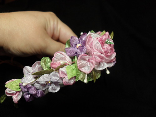 side view of floral head wreath