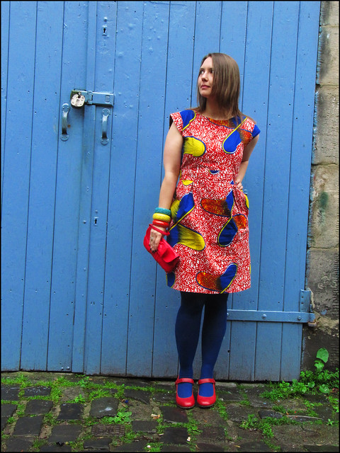 primary colours african wax print dress