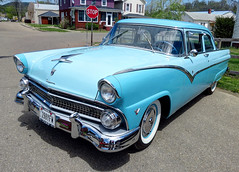 automobile, automotive exterior, 1955 ford, vehicle, mercury montclair, antique car, sedan, land vehicle, luxury vehicle,